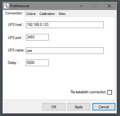 upsclient settings